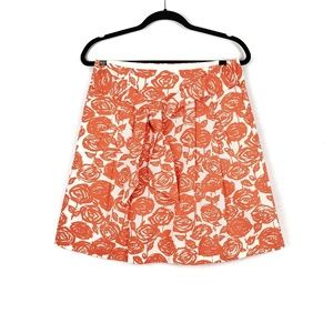 J.Crew | Orange White Tie Front Rose Print Skirt 4